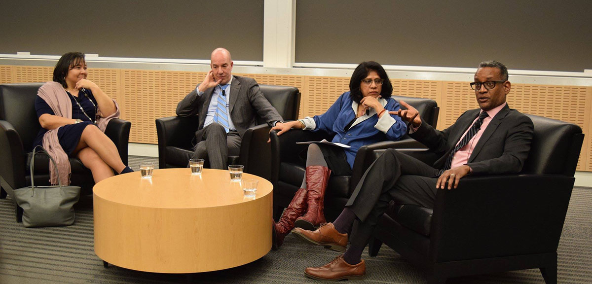 Margaret Huang (ED, Amnesty USA), Anthony Romero (ED, ACLU), Radhika Balakrishnan (Faculty Director, CWGL) and Vince Warren (ED, Center for Constitutional Rights) engage in conversation at the CWGL event Moving Forward: Defending Civil Liberties and Human Rights.